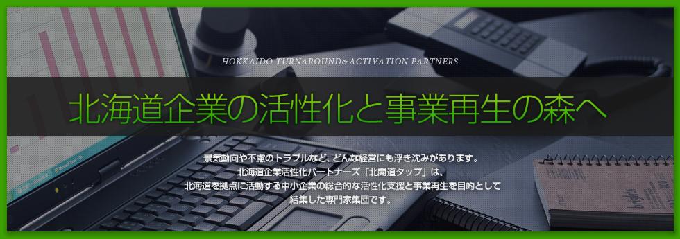 北海道企業活性化パートナーズ「北開道TAP」は、各分野の専門家が企業の活性化と再生をより強力に実行する為に知恵と力を結集した専門家集団です。貴社の課題をご相談ください。総合的な支援でバックアップします。サポートについてはこちら